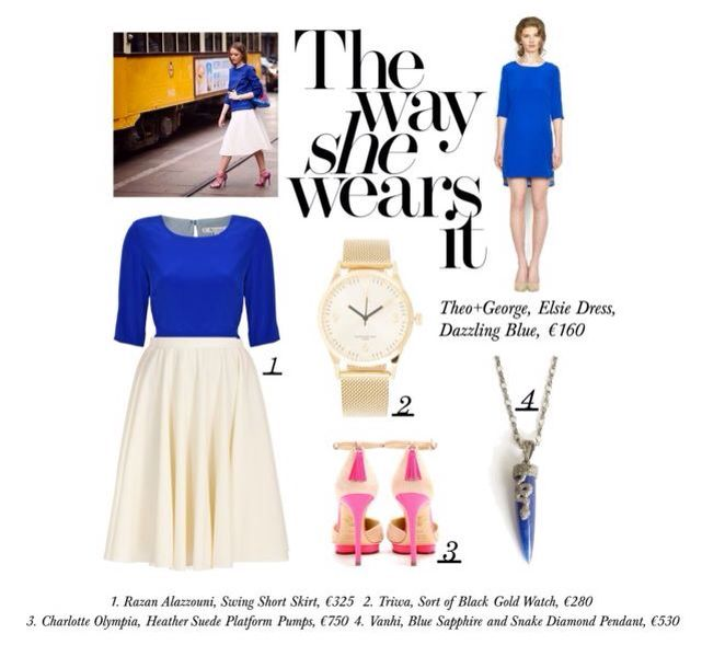 Theo+George | Style File Wear your Elsie Dress as a Tunic with a white wool skirt and be sure to turn heads! #Blue Dress #blueandwhite #AW #perfectoutfit www.theoandgeorge.com