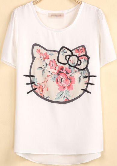 White Short Sleeve Kitty Print Loose T-Shirt pictures
