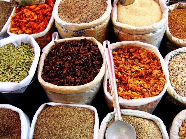 The many spices in the bustling Goa Mapusa Market ..