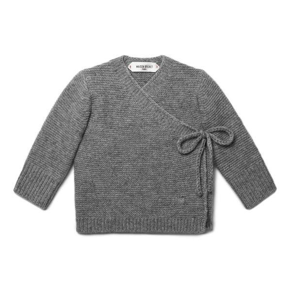 Cache-cœur bébé cachemire Sacha gris chiné  - MAISONBRUNET -   www.maisonbrunet.... #cachemire   #cashmere #knit #knitwear #bebe #baby #madewithlove #conçuaparisavecamour