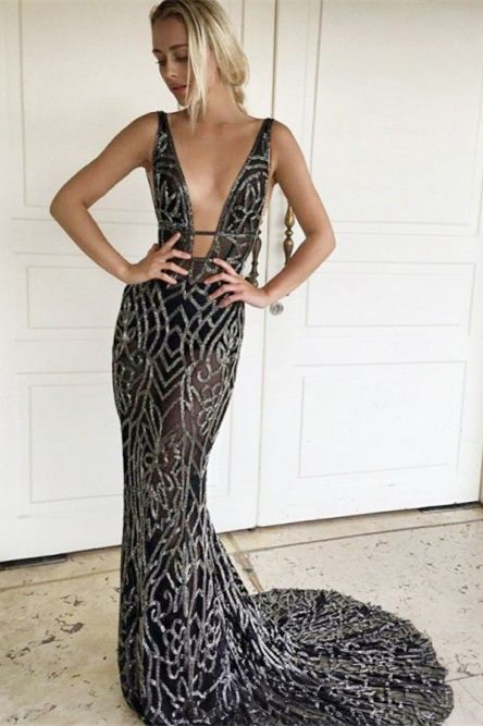 5cbc31cae1 Mermaid V-Neck Backless Sweep Train Black Prom Dress with Sequins