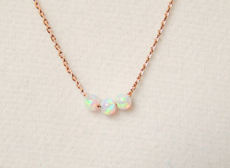 Rose Gold and White Opal Necklace