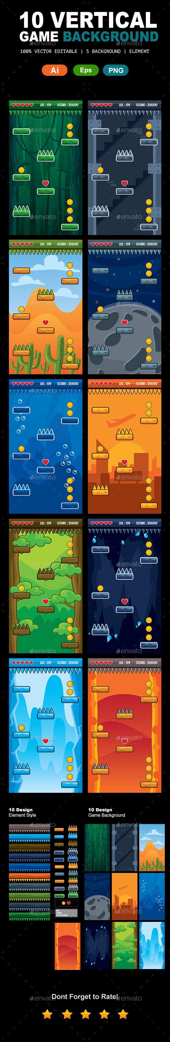 10 Set Vertical Game Backgrounds