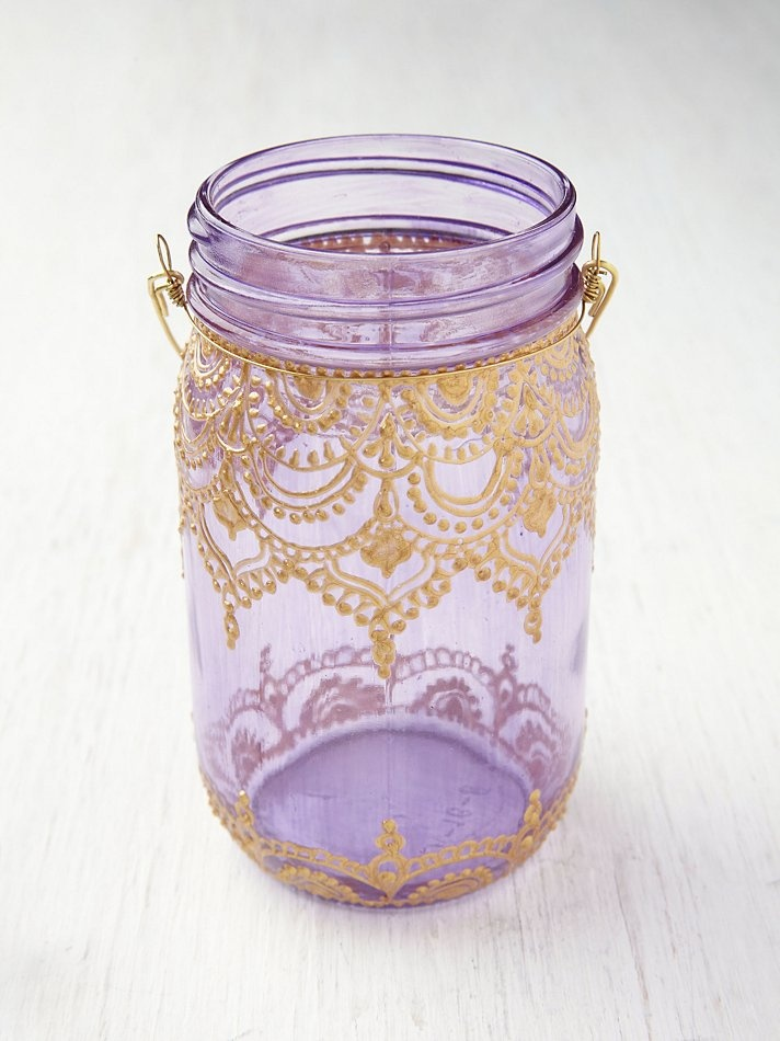 Free People Mason Jar Lanterns, $28.00... can totally make this myself w/ gold acrylic and a rolled cone!