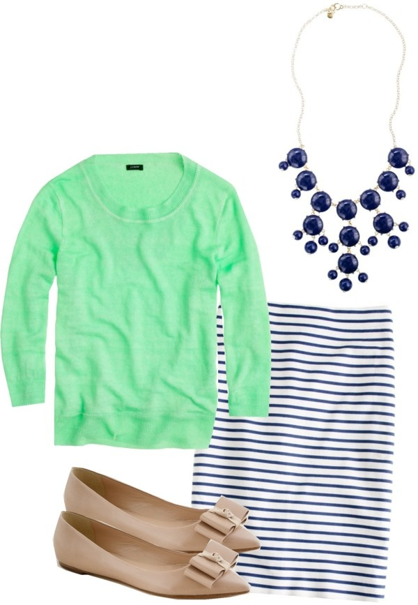 """J. Crew No. 2 Pencil Skirt in Deck Stripe, Navy Bubble Necklace, Viv Bow Flats, and Tippi Sweater"" by jcrewismyfavstore ❤ liked on Polyvore"