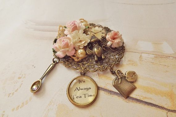 Pink Floral Tea Time Brooch by SunshineCottage on Etsy, $27.00