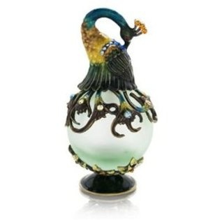 Welforth Fine Pewter Peacock Green Perfume Bottle