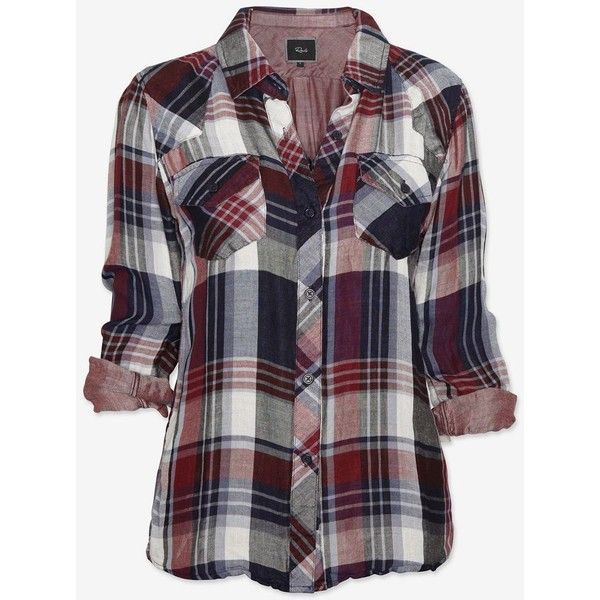 Rails Plaid Shirt: Navy/Burgundy found on Polyvore