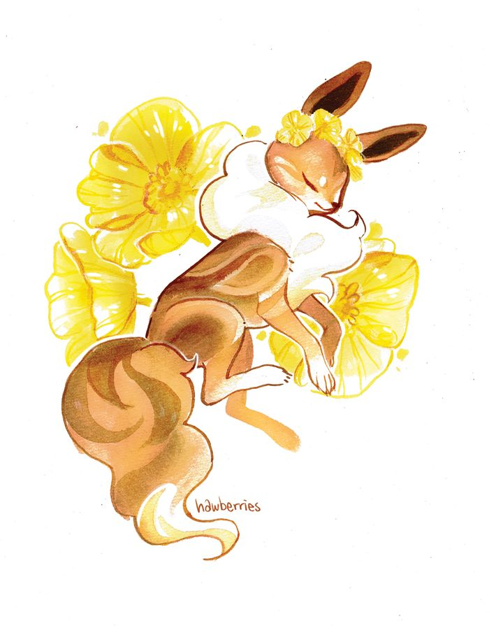 """""""eeveelutions + flowers"""" by hawberries; see how to get the prints on http://hawberries.tumblr.com/"""