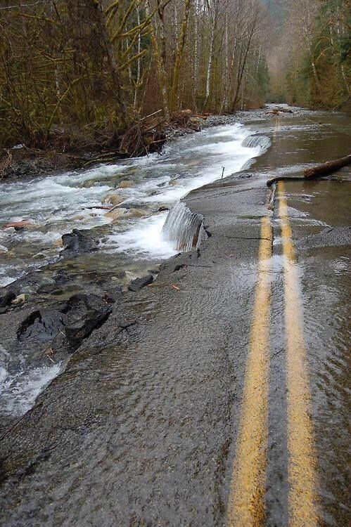 Abandoned road now apart of river - Imgur