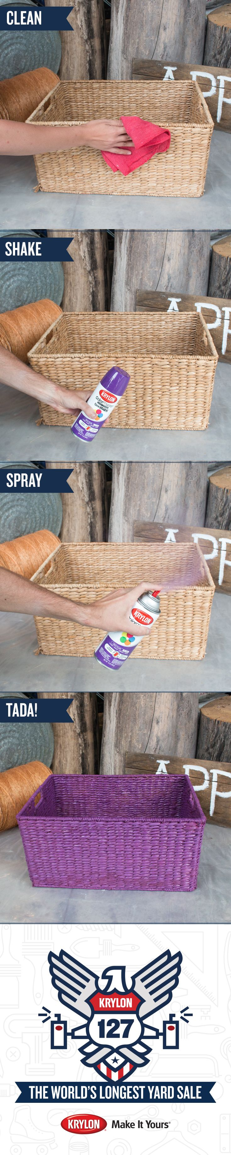 Want to give an old basket a fresh new look? We found this basket at the #Krylon127YardSale and gave it a makeover with Krylon ColorMaster Paint + Primer Rich Plum. Follow these easy steps to re-do your own basket. 1) Clean the surface 2) Shake the spray can vigorously 3) Paint the basket, using light, even coats. Voila! See all the objects we transformed at the first ever Pinterest Yard Sale. Buy your favorites. All proceeds will be donated to Charity Wings, an arts education non-profit.