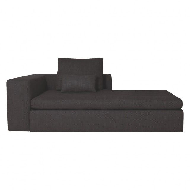 Reclining Sofa SIDNEY Charcoal fabric chaise longue sofa bed