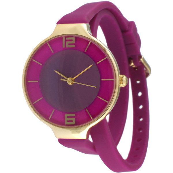 TKO ORLOGI Womens Purple Silicone Strap Wrap Watch ($36) ❤ liked on Polyvore featuring jewelry, watches, wrap watch, dial watches, thin watches, wrap watches and silicone strap watches