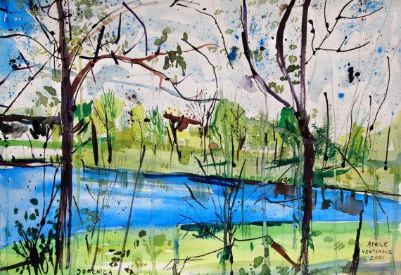 Stephens Lake Watercolor Landscape 15 x 22 by JohnKlineArtwork, $35.00