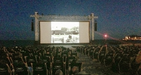 """The General"" screens on the beach at #Cannes"