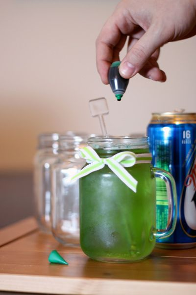 Girly green beer in a mason jar with a ribbon! For St. Patrick's Day.