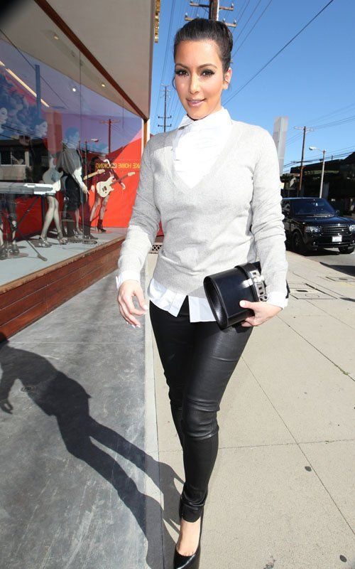 Kim Kardashian, formal top and casual bottoms