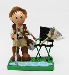 Fofuchas | Fofuchas personalizadas profesionales, pescador con silla, ancla y peces en goma eva.