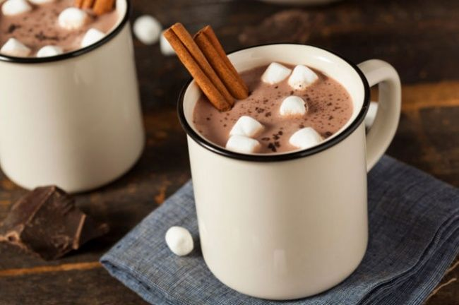 Ten perfect drinks tokeep you warm this winter. Cocoa with cinnamon and marshmallows