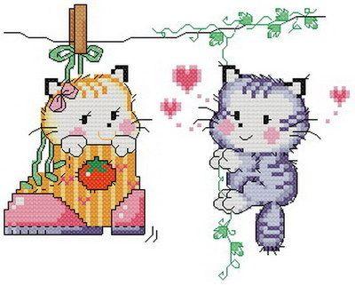 Free counted aida animal cross stitch cat kit 86 x 69 stitches KM004 | eBay
