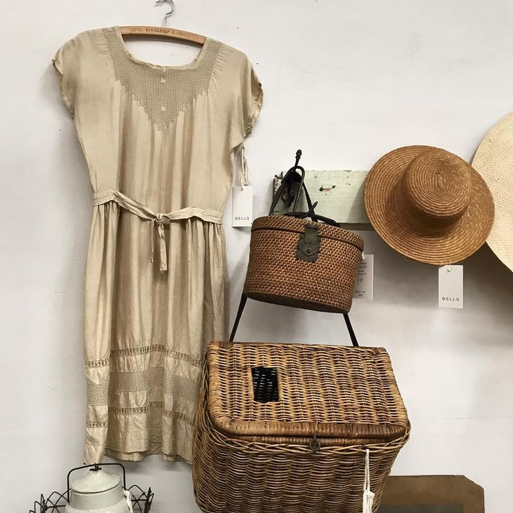 New arrivals | 1920s raw silk dress with embroidered Irish lace | small woven basket with brass closure | large basket w leather strap | perfect picnic attire |@castlemainebazaar #bells