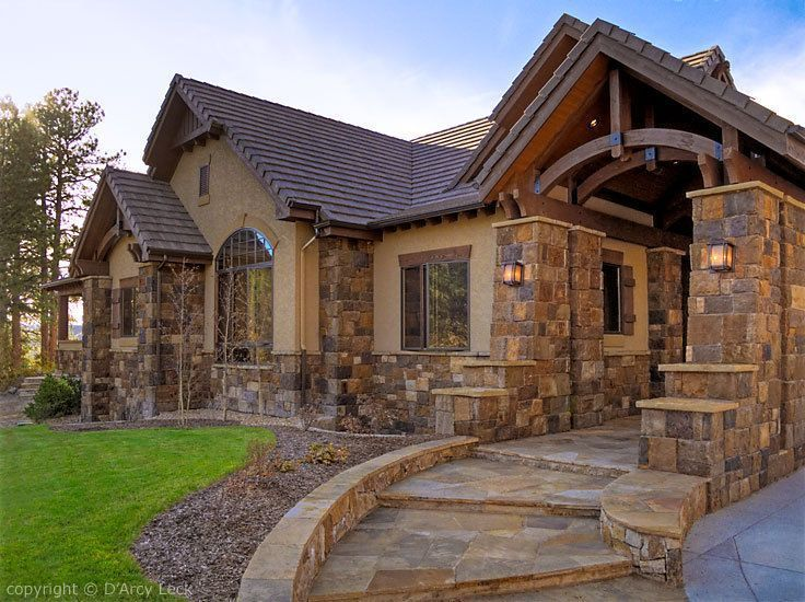 Image result for images of a house that have a reddish colored shingle roof and is stucco with some rock