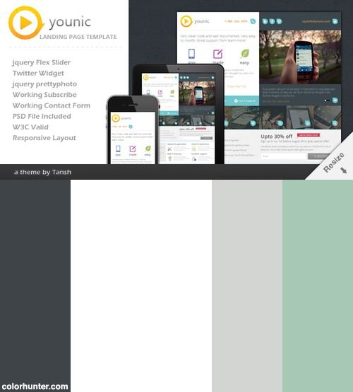 Younic Responsive Html Landing Page Template Color Scheme