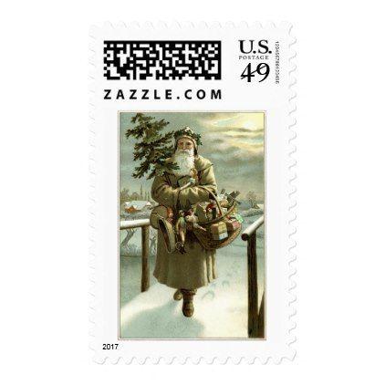 #Vintage Christmas Victorian Santa Claus with Toys Postage - #Xmas #ChristmasEve Christmas Eve #Christmas #merry #xmas #family #kids #gifts #holidays #Santa