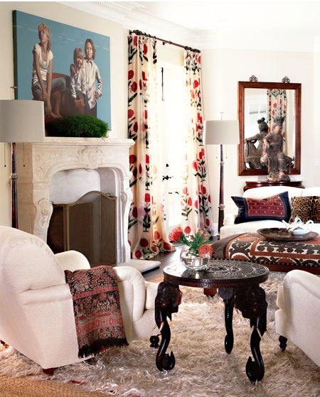 cozy eclectic living room: Living Rooms, Katy Leed, Interiors, Curtains Fabrics, World Traveler, House, Katie Leede, Windows Treatments, Decoration Styles