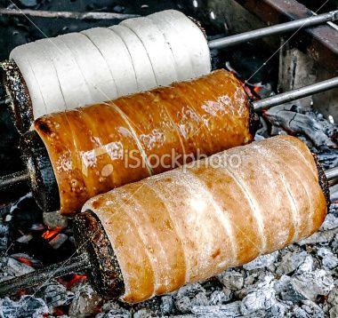 Kurtoskalacs prepared on the grill Royalty Free Stock Photo