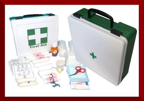 Office First Aid Kit   This First Aid Box can be used for up to 15 people.  Dimensions: 44 x 30 x 13cm  Enquire for contents