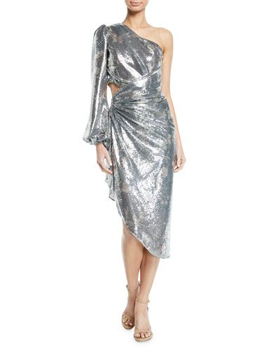626ccc0b069 B4KHU Johanna Ortiz Glassy Orchid One-Sleeve Sequin Cocktail Dress ...
