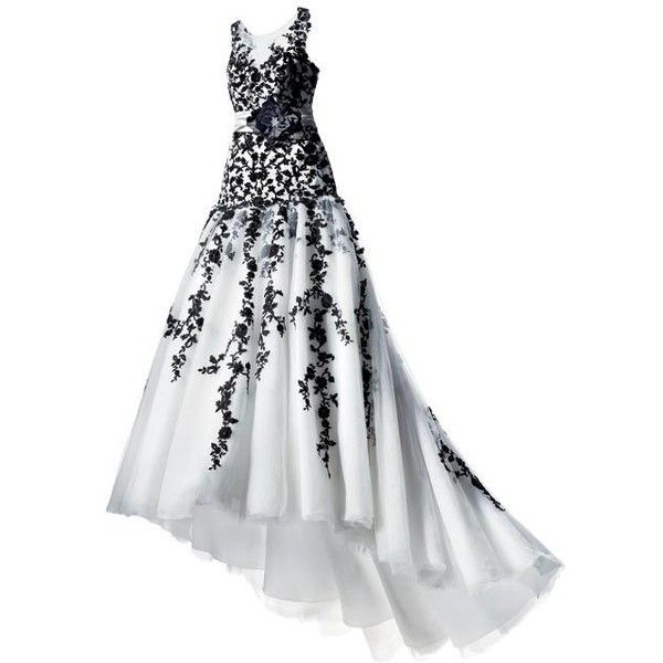 Wedding Style Classic Black and White ❤ liked on Polyvore featuring dresses, gowns and long dresses