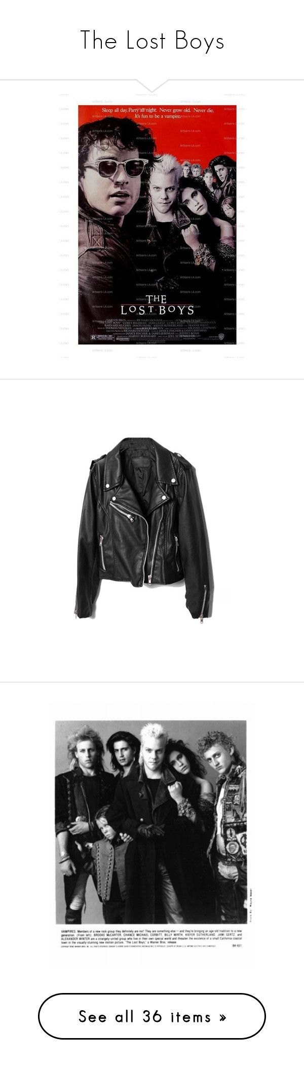 """""""The Lost Boys"""" by void-witch ❤ liked on Polyvore featuring iconic, movies, outerwear, jackets, tops, coats, moto jacket, rider leather jacket, moto zip jacket and 100 leather jacket"""