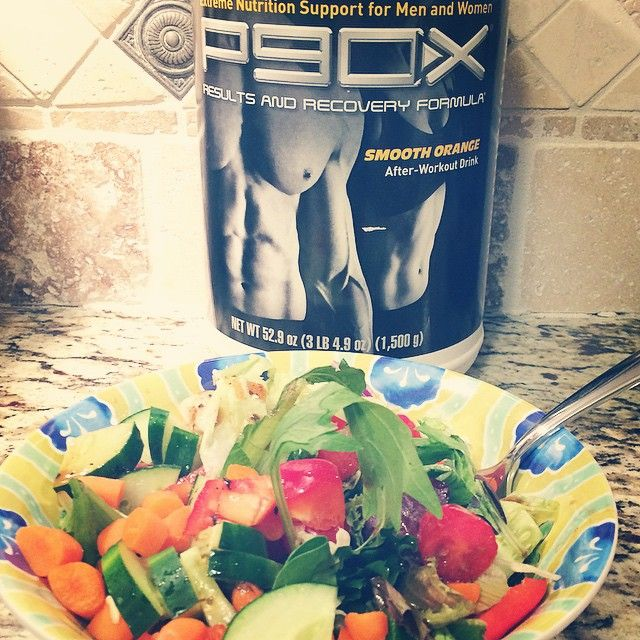 A great healthy after workout meal -- P90X Results and Recovery formula with a fresh salad with tofu