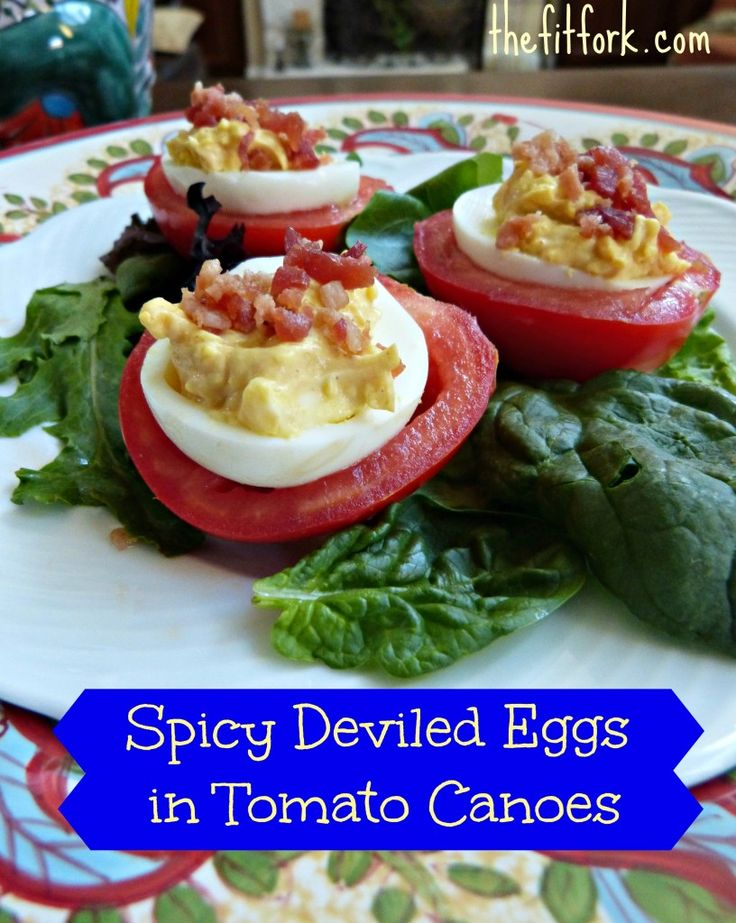 Deviled egg in tomato canoe salad recipe how to peel eggs for Table 52 deviled eggs recipe