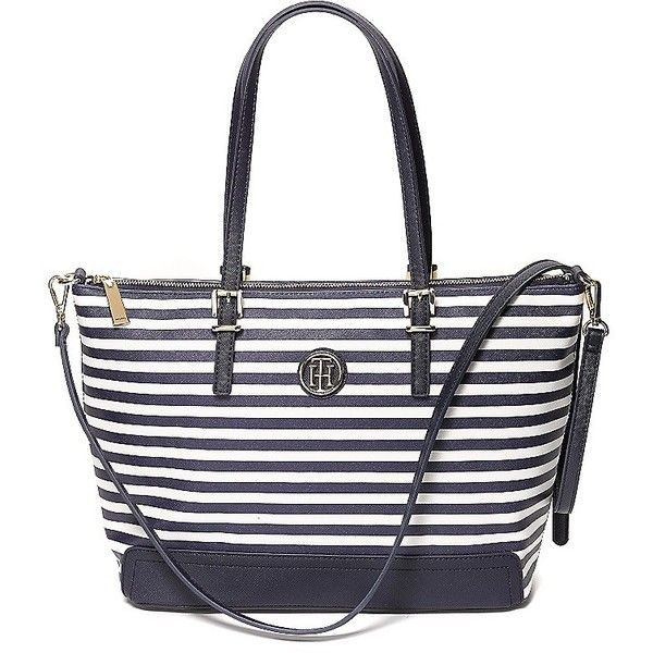 Tommy Hilfiger Stripe Tote (£80) ❤ liked on Polyvore featuring bags, handbags, tote bags, white tote, tote purses, striped tote bag, striped tote and stripe tote bag