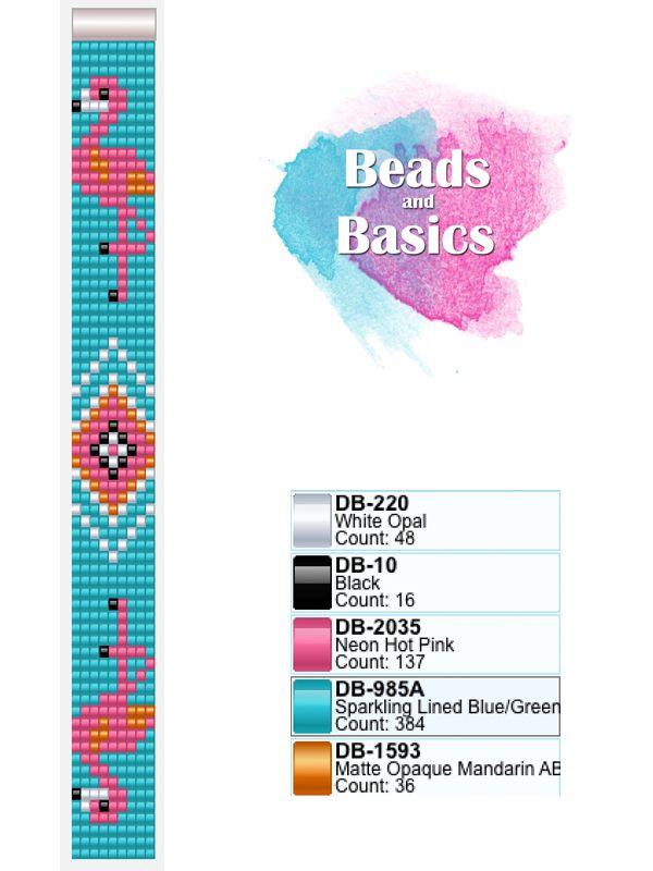 pink flamingo miyuki delica pattern for loom bracelets - patronen voor weefarmbandjes