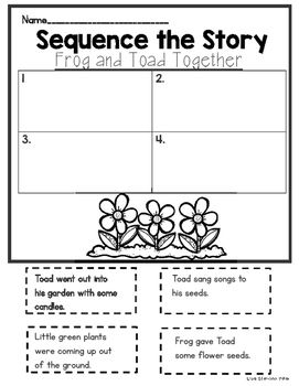 "After your students read, ""Frog and Toad Together"" from Reading Street they can sequence the story with this activity.  The first page asks the students to cut out 4 story events and glue them in order.  The second page has the students copy the sequencing sentences and add transition words."