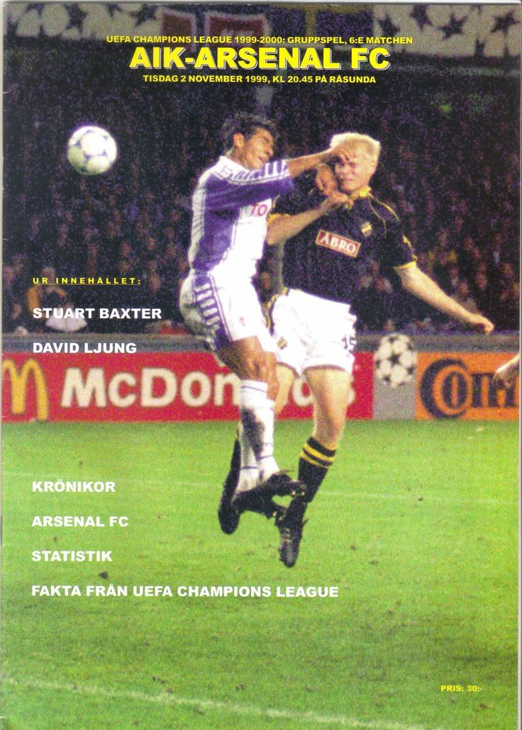 AIK Solna v Arsenal 1999/2000 Football Programme UEFA Champions League