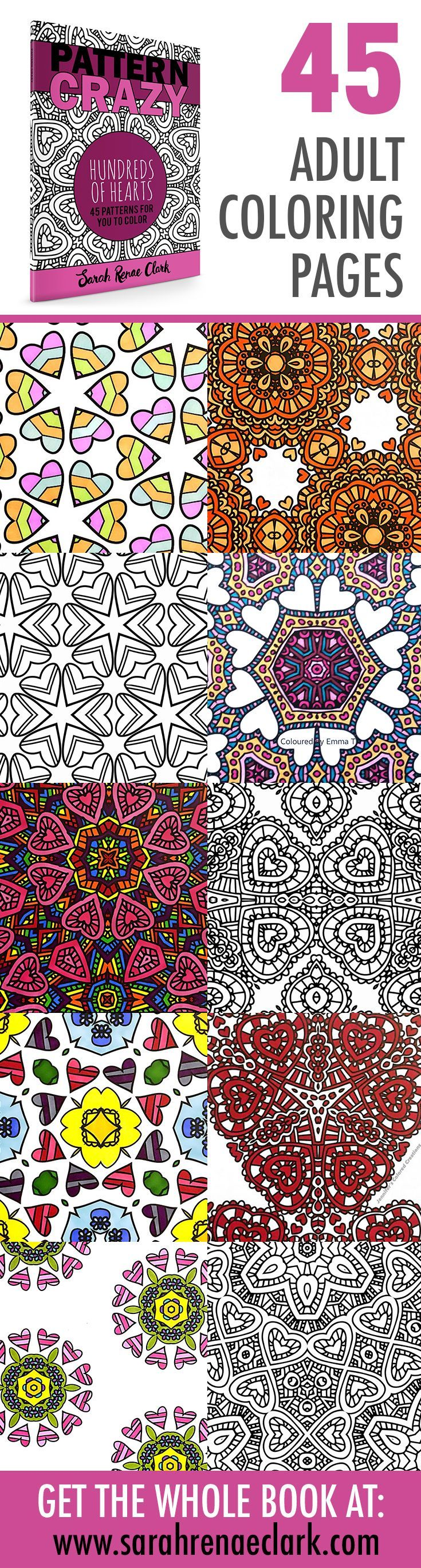 Printable Adult Coloring Book | Pattern Crazy: Hundreds of Hearts by Sarah Renae Clark | 45 patterns to color | Get it at www.sarahrenaeclark.com or on Amazon | adult coloring, coloring for adults, coloring for grown ups, coloring pages, printable coloring pages, heart pattern coloring pages, digital colouring book