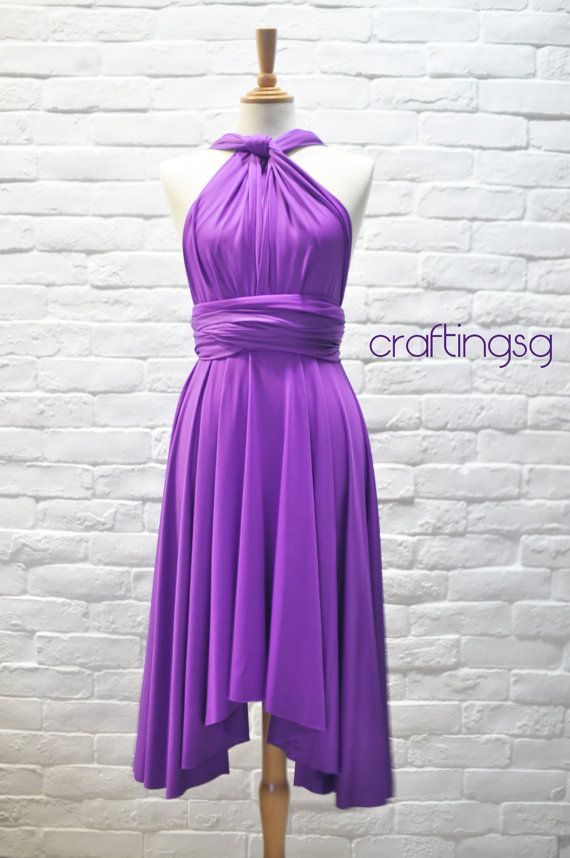 Bridesmaid Dress Infinity Dress Bright Purple Knee by craftingsg, $35.00