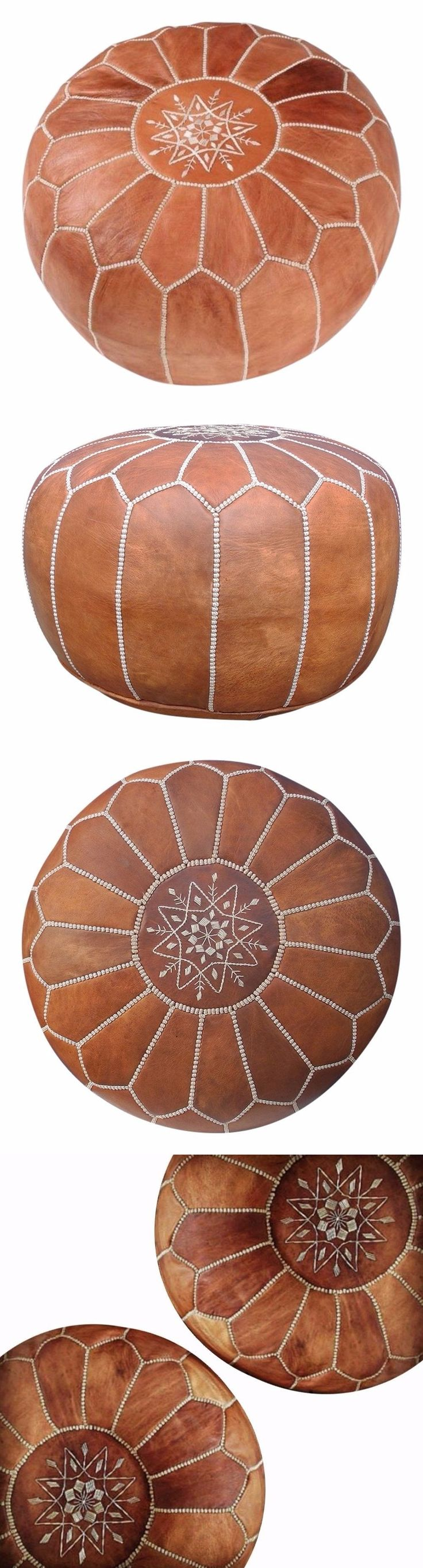 Square handcrafted moroccan leather pouf dark tan pouf pouffe ottoman - Ottomans Footstools And Poufs 20490 Moroccan Pouf Genuine Leather Ottoman Natural Tan Brown Footstool