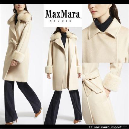 ●人気●Max Mara ベルト ファー付き 最上級100%キャメルコートマックスマーラ スタジオ 2016ファッション