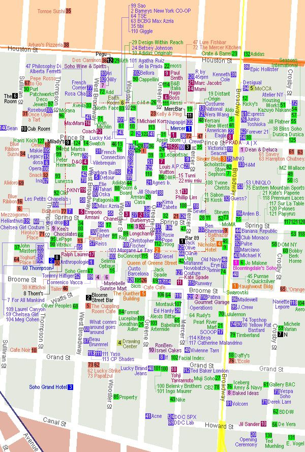 Map of shopping in Soho, NYC. This could potentially be very deadly to my bank account.