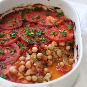 Eggplant, Chickpea And Tomato Casserole With Eggplant, Extra-virgin Olive Oil, Tomatoes, Onions, Chickpeas, Tomato Sauce