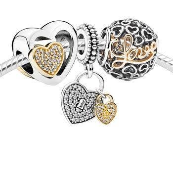 Stříbrné korálky/ přívěsky : Ryzí láska - set