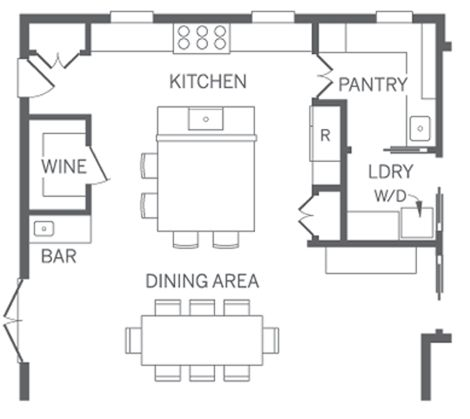 pretty good kitchen layout includes pantry laundry and dining maybe if we broke through into the dining room or even the front room