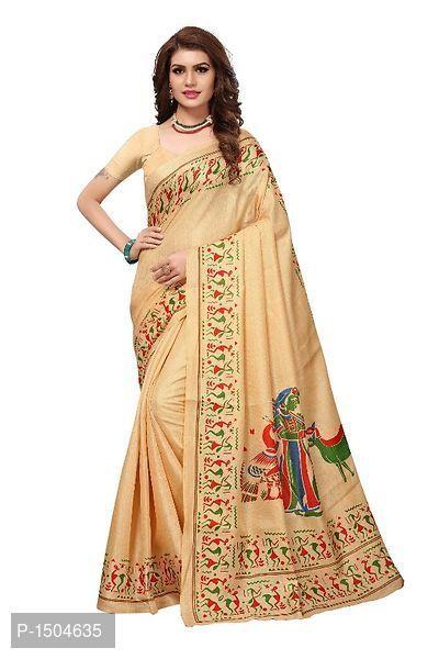 7edeadb557b Beige Printed Kalamkari Art Silk Saree with Blouse Piece