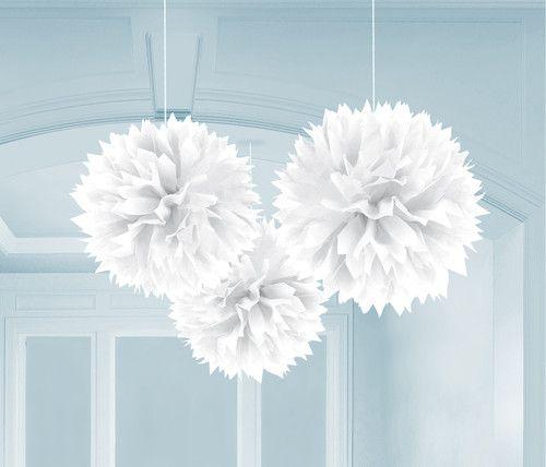 Fluffy Deko Deko-Ball ca. 40 cm Durchm. weiss weiß Taufe Hochzeit Dekoration
